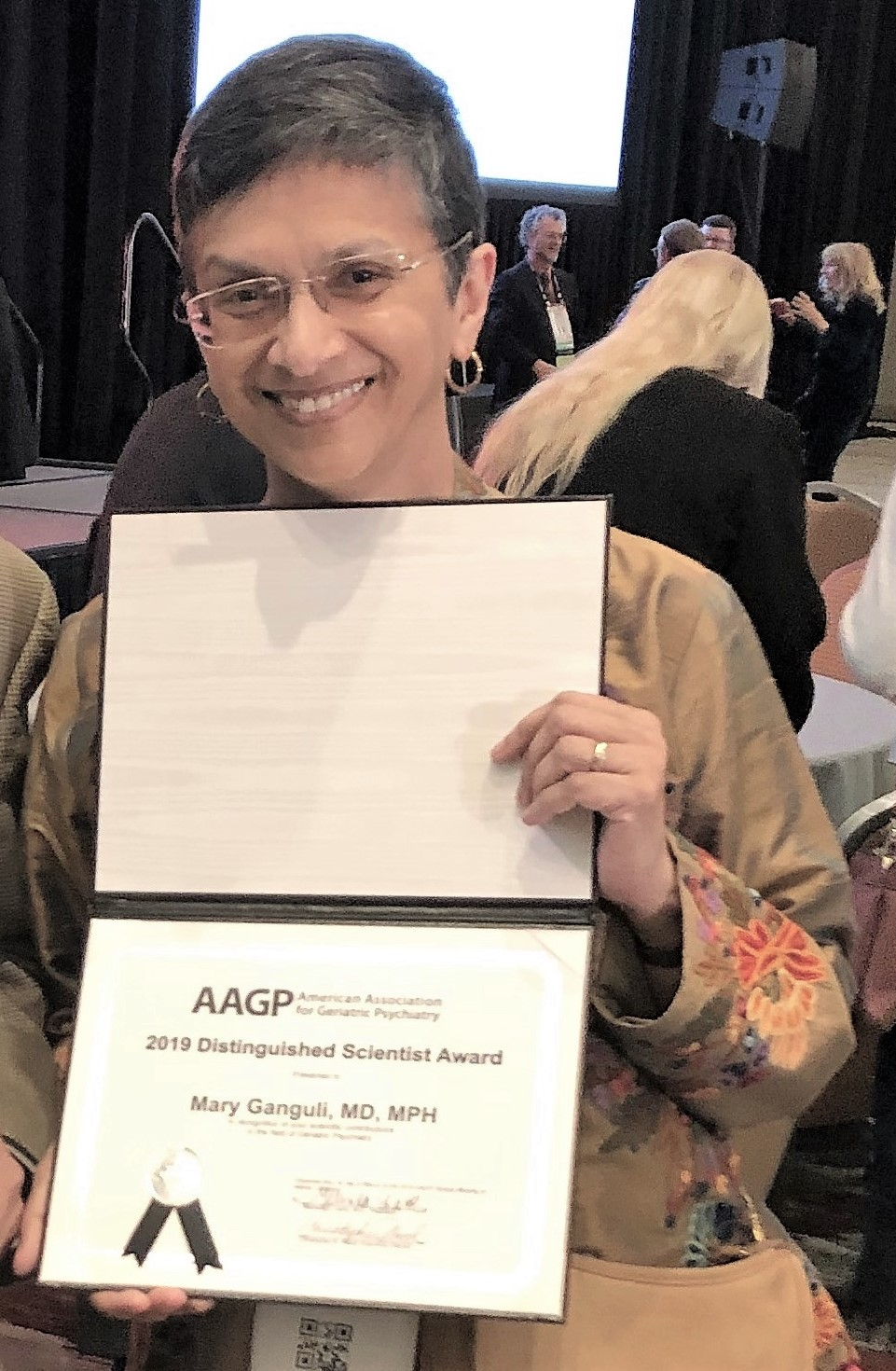 Dr. Mary Ganguli was presented with the 2019 AAGP Distinguished Scientist Award