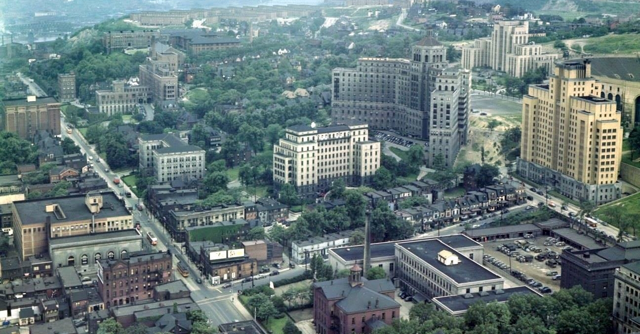 View of Oakland from the Cathedral of Learning circa 1950