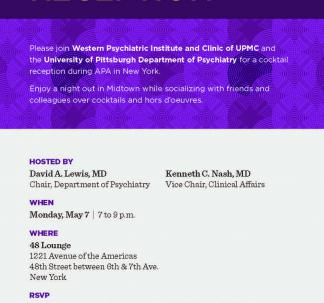 WPIC Psychiatry APA Cocktail Reception Invitation